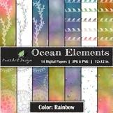 Digital Paper | Ocean Elements: Rainbow Colors - Ocean Des