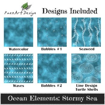 Digital Paper | Ocean Elements: Stormy Sea - Ocean Designs {PaezArtDesign}