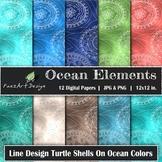 Digital Paper | Ocean Elements: Turtle Shells on Ocean Col