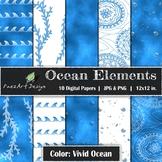 Digital Paper | Ocean Elements: Vivid Ocean - Ocean Design