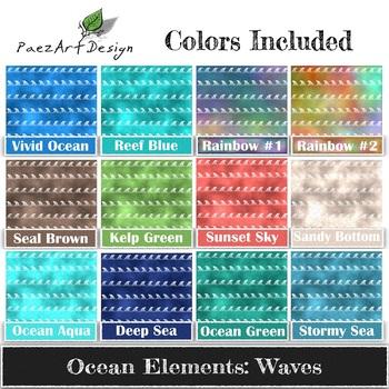 Digital Paper | Ocean Elements: Waves BUNDLE {PaezArtDesign}