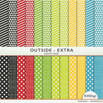 """Digital Paper - """"Outside Extra """" Yellow Blue Green Red"""