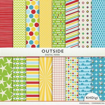 "Digital Paper - ""Outside"" Yellow Blue Green Red"