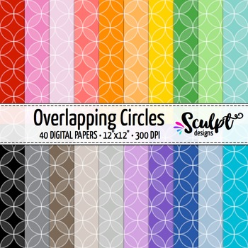 Digital Paper ~ Overlapping Circles ~ Twenty Colors