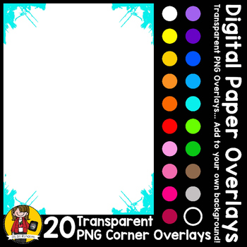 Digital Paper Overlays 8 - Page Corners 2 {Paper Overlays for CU}