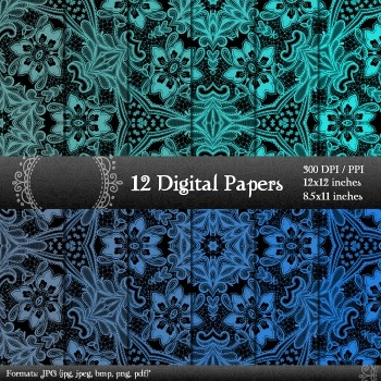 Digital Paper Pack 12x12 + 8.5x11 Inch Instant Download Ornate Lot Page Sheet A4