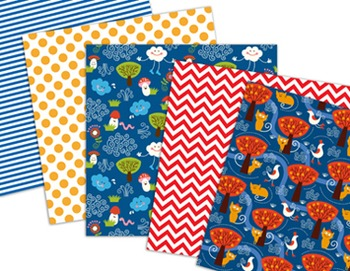 Digital Paper Pack: Animal Paper Jellyfish Penguin Cat Bird Mushroom Tree