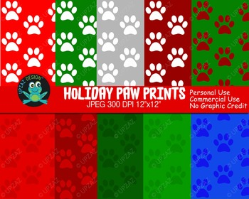 Holiday Paw Print Papers {Upzaz Digital Clipart}