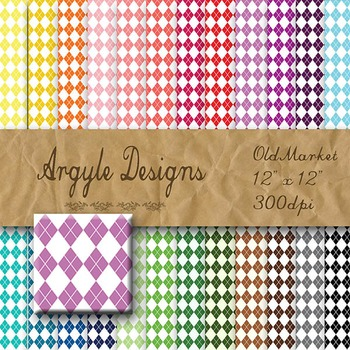 Digital Paper Pack - Argyle Designs - 24 Different Papers - 12 x 12