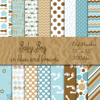 Digital Paper Pack - Baby Boy Colors - 16 Papers - 12 x 12