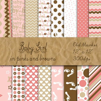 Digital Paper Pack - Baby Girl Colors - 16 Papers - 12 x 12