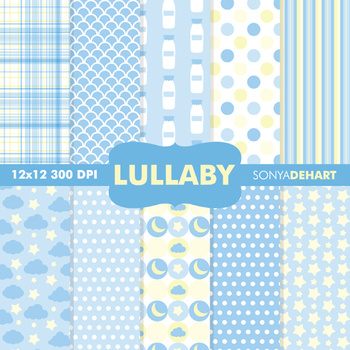 Digital Papers - Baby Lullaby Blue