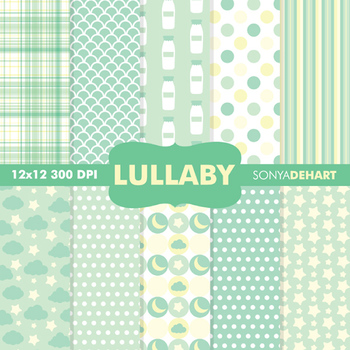 Digital Papers - Baby Lullaby Green