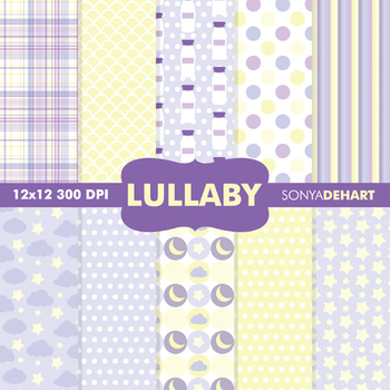 Digital Papers - Baby Lullaby Purple