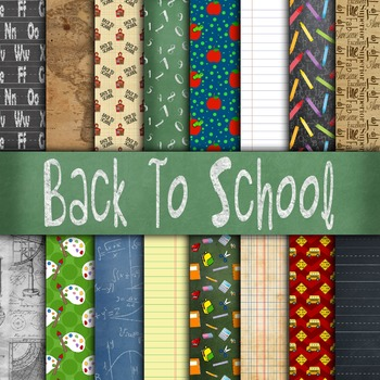 Digital Paper Pack - Back to School - 16 Different Papers - 12inx12in