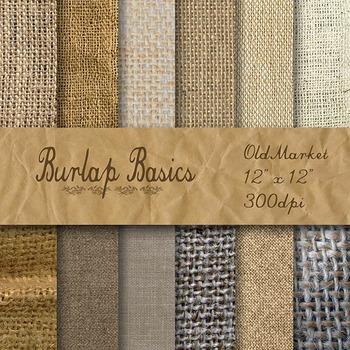 Digital Paper Pack - Burlap Textures Basics - 12 Different Papers - 12 x 12