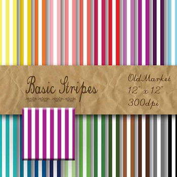 Digital Paper Pack - Basic Stripes - 24 Different Papers - 12 x 12
