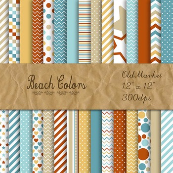 Digital Paper Pack - Beach Colors Collection - 30 Papers - 12 x 12