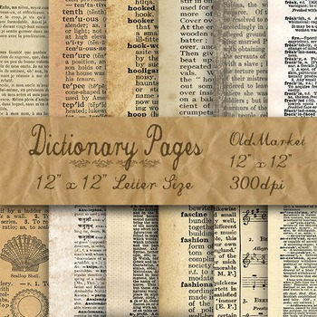 """Digital Paper Pack - Blank Dictionary Pages - 12 Different Papers - 12"""" x 12"""""""