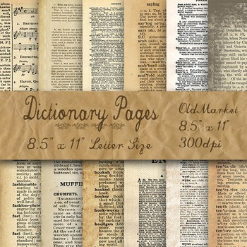 Digital Paper Pack - Blank Dictionary Pages - 12 Different Papers - 8.5 x 11