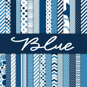 Digital Paper Pack - Blue Digital Papers - 30 Papers - 12 x 12