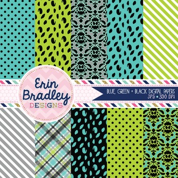Digital Paper Pack - Blue Green Black