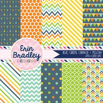 Digital Paper Pack - Blue Green Orange Yellow Printable Background Patterns