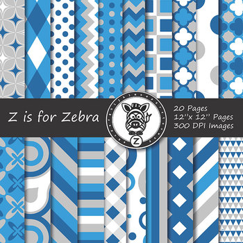 Digital Paper Pack Blue colors 1- CU ok { ZisforZebra}