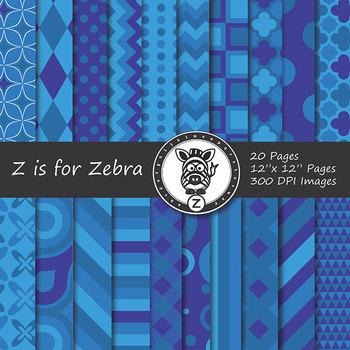 Digital Paper Pack Blue colors 2- CU ok { ZisforZebra}