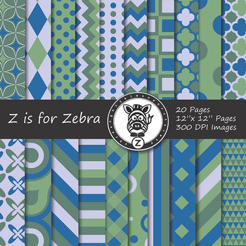 Digital Paper Pack Blue green 1- CU ok { ZisforZebra}