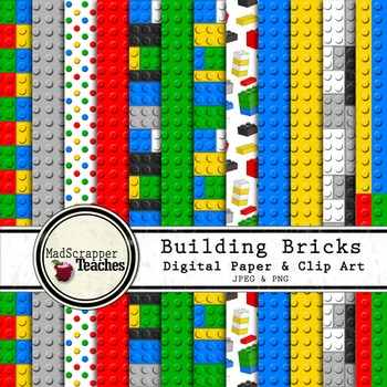 Digital Paper Pack Building Bricks Bold Colors Paper Background and Clip Art