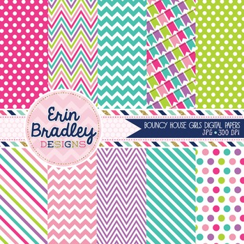 Digital Paper Pack - Bounce House Girls Printable Patterned Backgrounds