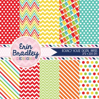 Digital Paper Pack - Bouncy Castle Patterned Background Graphics Set