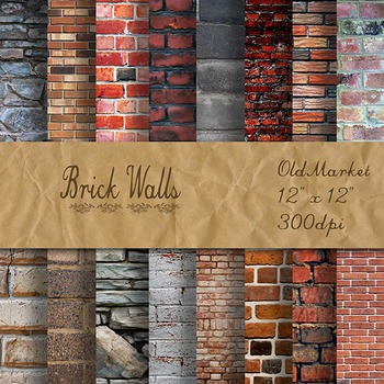 Digital Paper Pack - Brick Wall Backgrounds - 16 Different Papers - 12inx12in