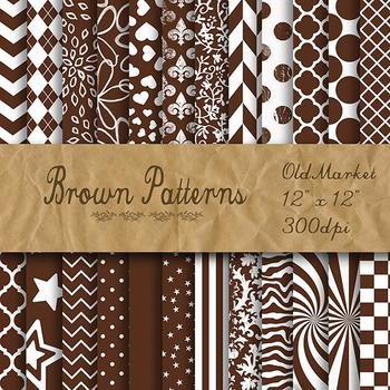 Digital Paper Pack - Brown Pattern Designs - 24 Different Papers - 12 x 12