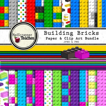 Digital Paper Pack Building Bricks Paper Background and Cl
