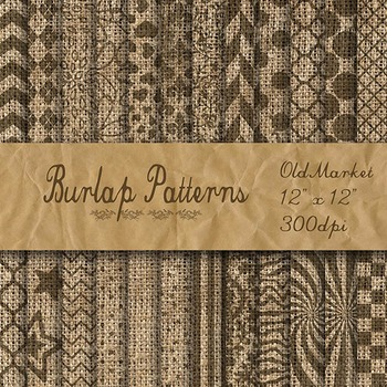 Digital Paper Pack - Burlap Patterned Textures - 24 Different Papers - 12 x 12