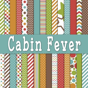 Digital Paper Pack - Cabin Fever Digital Backgrounds - 30 Papers - 12 x 12