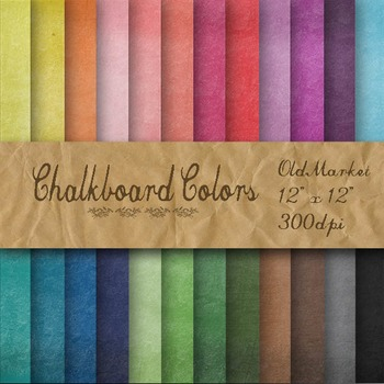 Digital Paper Pack - Chalkboard Color Textures - 24 Different Papers - 12 x 12