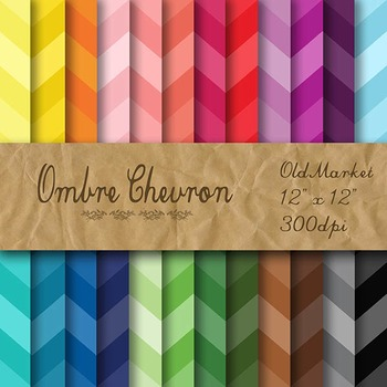 Digital Paper Pack - Chevron Ombre - 24 Different Papers -