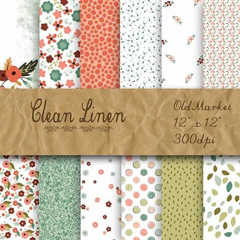 Digital Paper Pack - Clean Linen Flowers - 12 Different Papers - 12 x 12