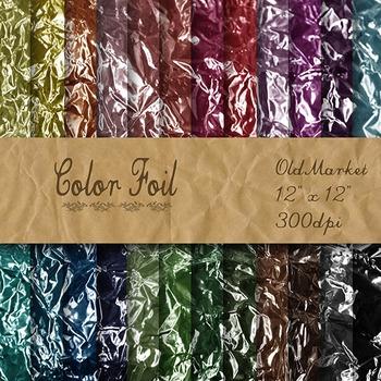 Digital Paper Pack - Color Foil Textures - 24 Different Papers - 12 x 12