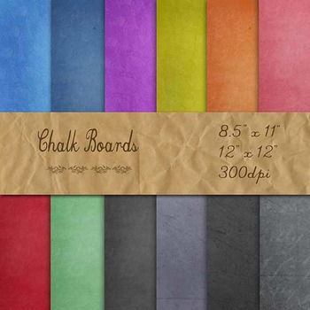 Digital Paper Pack - Colored Chalkboard Backgrounds - 8.5x11 and 12x12 Sizes