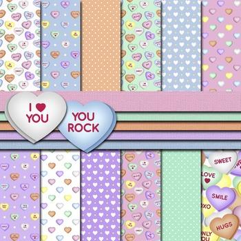 Digital Paper Pack Conversation Hearts Paper Background and Clip Art Bundle