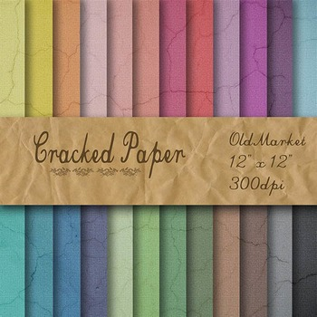 Digital Paper Pack - Cracked Paper Textures - 24 Different