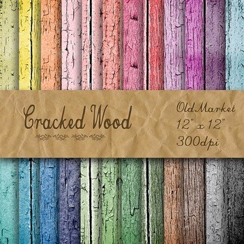 Digital Paper Pack - Cracked Wood Textures - 24 Different Papers - 12 x 12