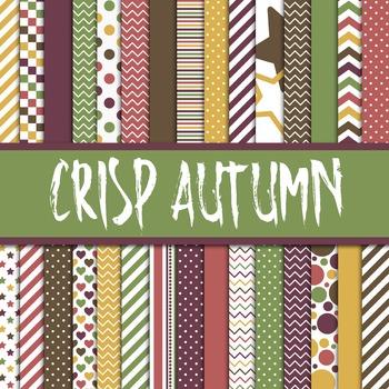 Digital Paper Pack - Crisp Autumn Colors Collection - 30 Papers - 12 x 12