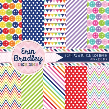 Digital Paper Pack Cute as a Button Rainbow Patterned Backgrounds Set