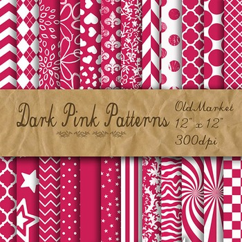 Digital Paper Pack - Dark Pink Pattern Designs - 24 Different Papers - 12 x 12