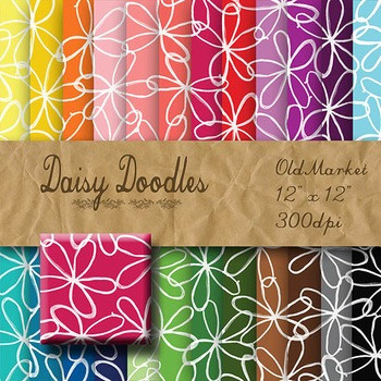 Digital Paper Pack - Doodle Daisies - 24 Different Papers - 12 x 12